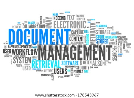 Word Cloud with Document Management related tags - stock photo