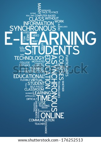 Word Cloud with E-Learning related tags - stock photo