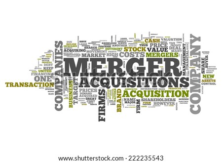 Word Cloud with Merger & Acquisitions related tags - stock photo