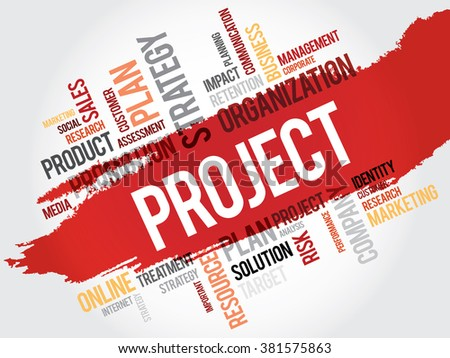Word Cloud with Project related tags, business concept - stock photo