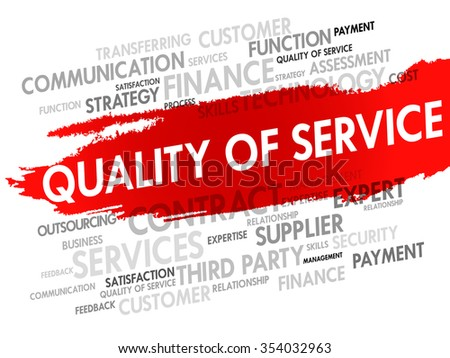 Word Cloud with Quality of Service related tags, presentation background - stock photo