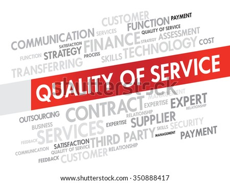 Word Cloud with Quality Service related tags, presentation background - stock photo