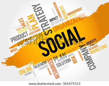 Word Cloud with Social related tags, business concept - stock photo