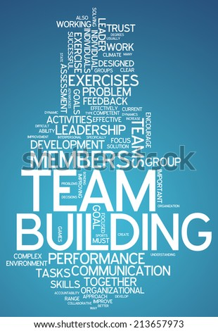 Word cloud with team building related tags stock photo