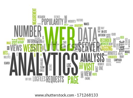 Word Cloud with Web Analytics related tags - stock photo