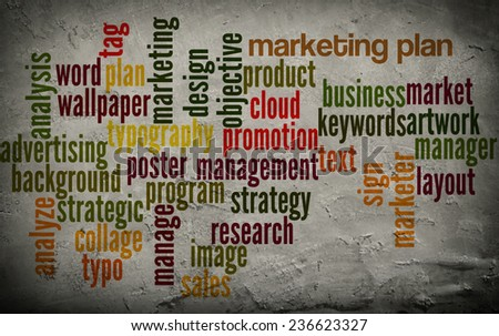 Word cloud word tags of management on grunge wall background - stock photo
