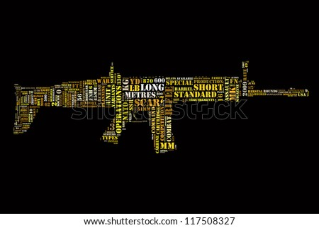 Word collage in shape of assault rifle - stock photo