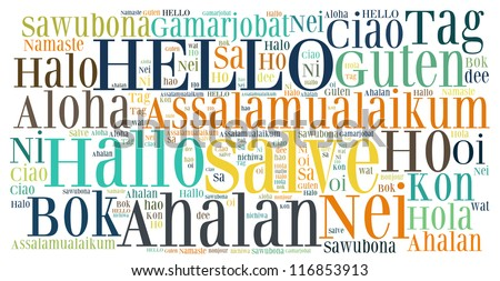 word collage of hello (greet people) in different languages - stock photo