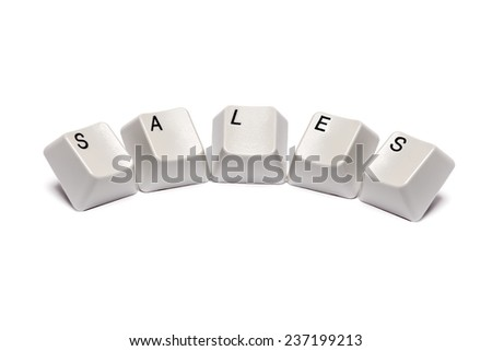 word collected from computer keyboard buttons letters sales isolated on white background, in studio - stock photo