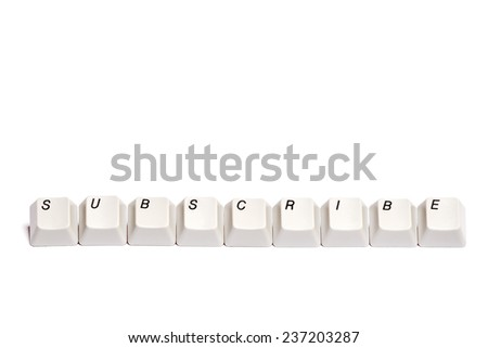 word collected from computer keyboard buttons subscribe isolated on white background, studio shot - stock photo