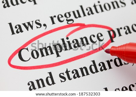 Word Compliance Circled in Red Pen Closeup  - stock photo