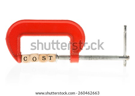 Word Costs On Wooden Piece Pressed In Clamp Over White Background - stock photo