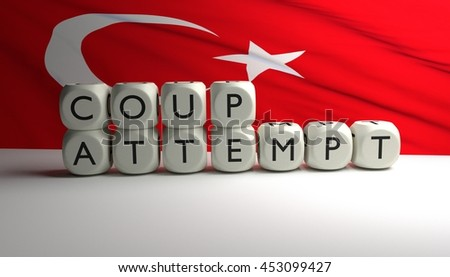 Word COUP ATTEMPT written on dices with Turkish flag waving in background. Attempt of military coup in Turkey. 3D render. - stock photo