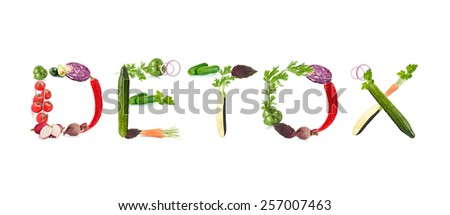 Word Detox made of vegetables isolated on white - stock photo