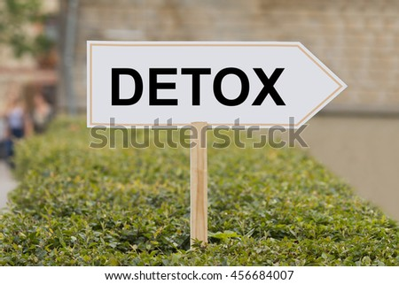 word detox on signpost - stock photo