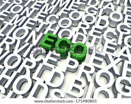 Word Eco in green, salient among other keywords concept in white. 3d render illustration. - stock photo