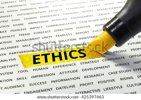 Word ETHICS highlighted with marker on paper of other related words.business success concept. - stock photo