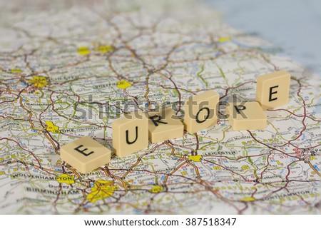 word europe falling on base map - stock photo