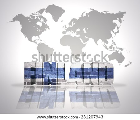 Word Finland with finnish Flag on a world map background - stock photo