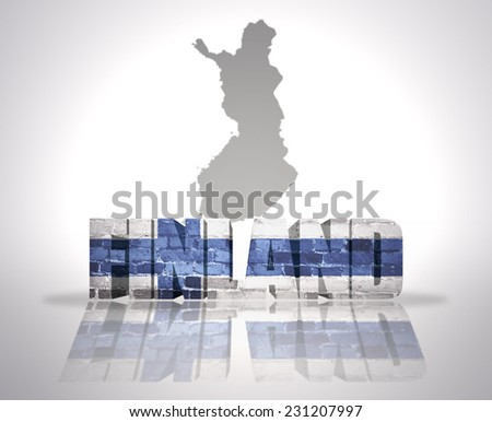 Word Finland with National Flag near map of Finland - stock photo