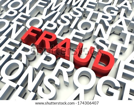 Word Fraud in red, salient among other related keywords concept in white. 3d render illustration. - stock photo