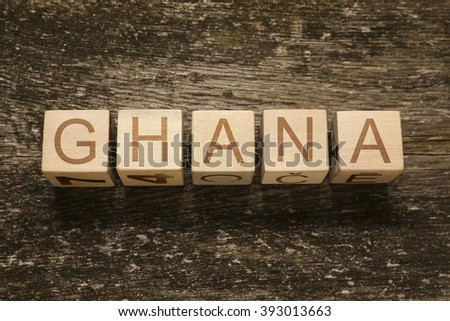 Word GHANA on a wooden background - stock photo