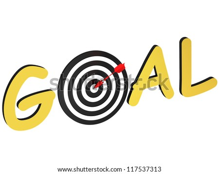 Word goal as a target with the arrow at the center - stock photo