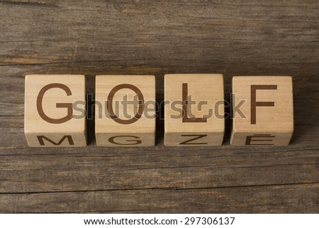 word golf on wooden cubes - stock photo