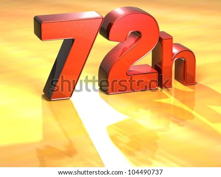 Word 72h on yellow background (high resolution 3D image) - stock photo