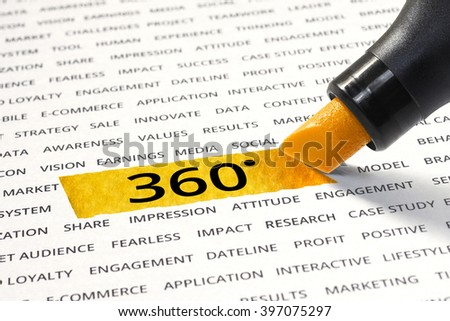 Word 360 highlighted with marker on paper of other related words. For direction of business strategy success concept - stock photo