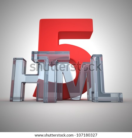 """Word """"Html"""" written by glass letters - stock photo"""