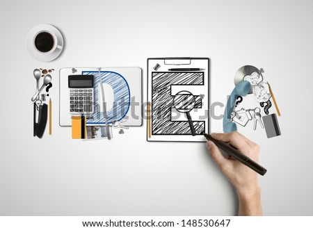 word idea built of business subjects and hand with pen - stock photo