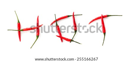 Word inscription HOT made from red chilli peppers isolated on a white background - stock photo