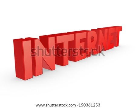Word INTERNET.Isolated on white.3d rendered. - stock photo