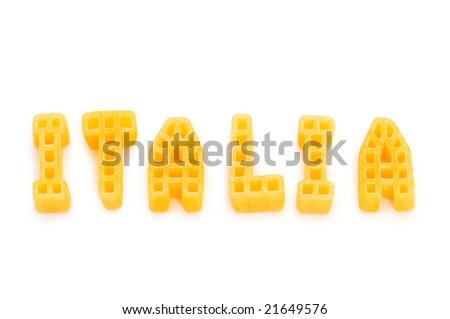 Word Italia written with pasta shapes on white - stock photo