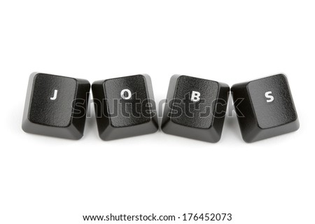 Word jobs formed with computer keyboard keys on white background with shadow - stock photo