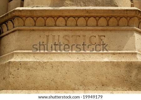 Word Justice Carving - stock photo