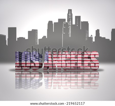 Word Los Angeles with National Flag of USA near skyline silhouette - stock photo
