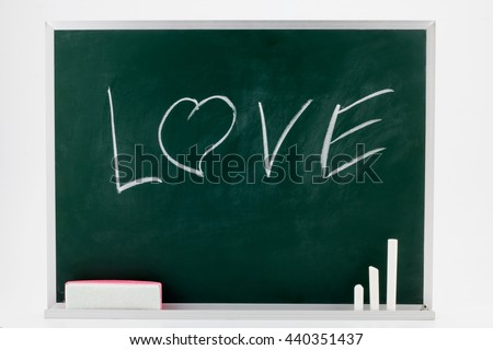 word Love drawing on a blackboard with Chalks and Eraser.isolated on white background. - stock photo