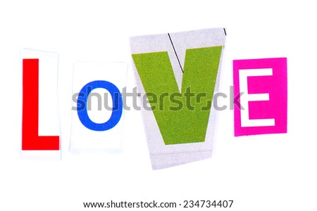 """Word """"Love"""" made of colorful newspaper letters isolated on white - stock photo"""