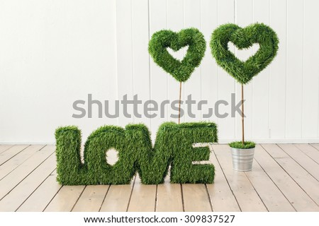 word Love on wooden background - stock photo