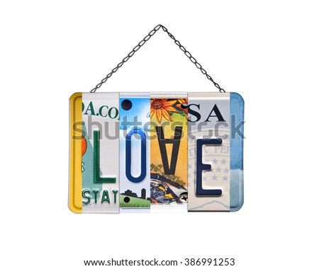 Word love written with recycled US license plates - stock photo