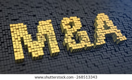 Word 'M&A' of the yellow square pixels on a black matrix background. Mergers and acwuisitions concept. - stock photo