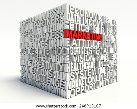 Word MARKETING in red, salient among other related keywords concept in white. 3d render illustration. - stock photo