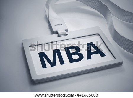 Word MBA on Identification white card background.For business concept. - stock photo