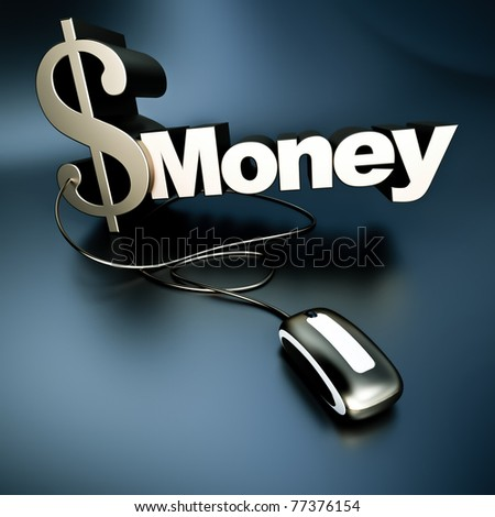 Word money with a dollar symbol in metallic texture connected to a computer mouse - stock photo