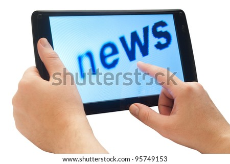 word news on touch tablet with clipping path - stock photo