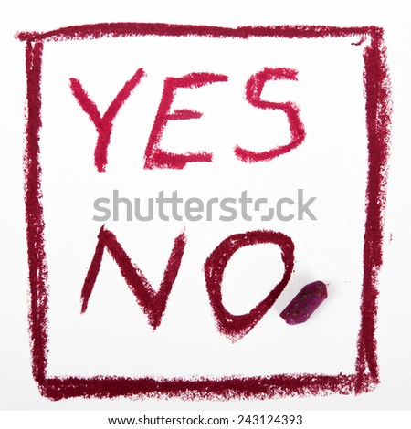 "word ""NO"" and ""YES"" written on the white paper - stock photo"