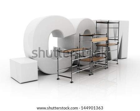 word of dot com over white background and scaffolding - stock photo