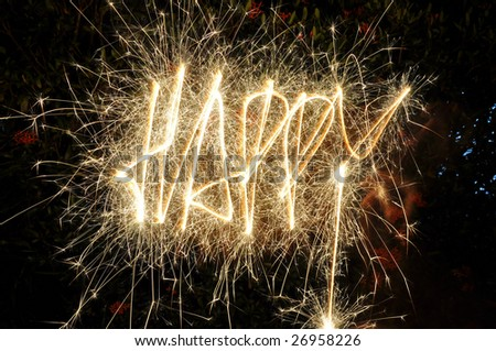 Word of HAPPY made of sparkler - stock photo
